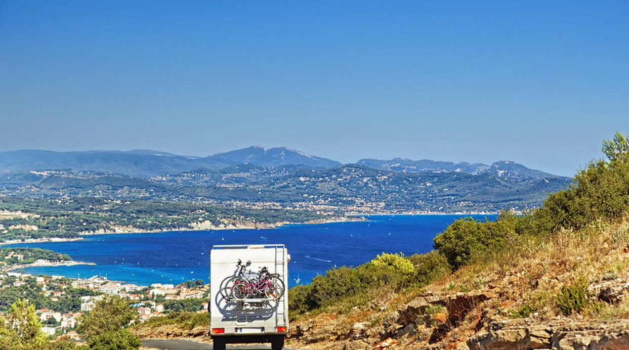 Caravan on the road at the mediterranean shore, Provence, Cote d`Azur in summer